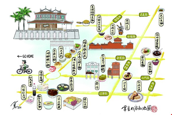 "Yu Fu's ""personal cycling map"" shows the daily course of his life since ""immigrating"" to Tainan.  (courtesy of Yu Fu)"