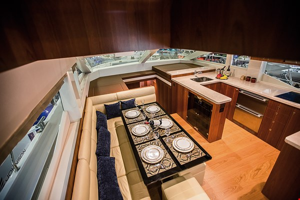 Handcrafted furniture and fittings, with an emphasis on refinement and comfort, offer a luxurious feel at sea.
