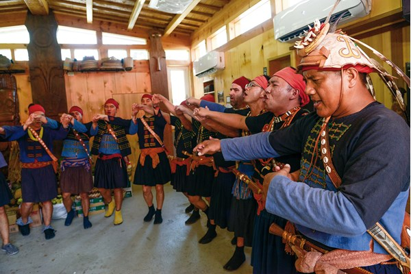 The birth of the new clan is celebrated with traditional Paiwan song and dance.
