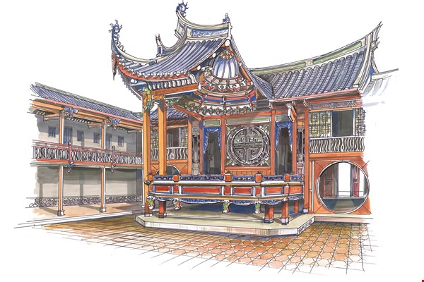 Opera stage at the Lin Family Mansion in Wufeng: The juxtaposition of Juan I-jong's photos and Li Chien-lang's handpainted version (courtesy of Li Chien-lang) suggests the mansion's rich history.