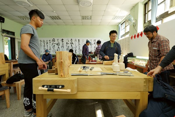 Solidly moored: Sanhe Wood Art applies the same techniques to constructing woodworking benches as to making shrine tables.