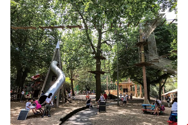 PPCC members have gone abroad to study playgrounds with special character. The photo shows London's Battersea Park, whose playground has a forest theme. (courtesy of PPCC)