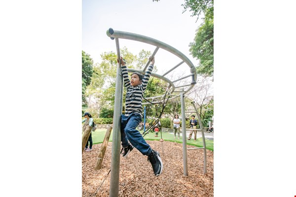 Monkey bars placed high enough can satisfy children's needs for sensory integration and physical development.