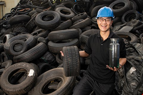 Enrestec is the world's only commercial pyrolysis plant to successfully produce carbon black from old tires. (photo by Kent Chuang)