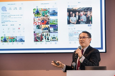 "Volkan Huang, deputy director-general of MOFA's Department of International Information Services, shares MOFA's ""new media"" operating strategy at the Digital Diplomacy Workshop. (photo by Kent Chuang)"